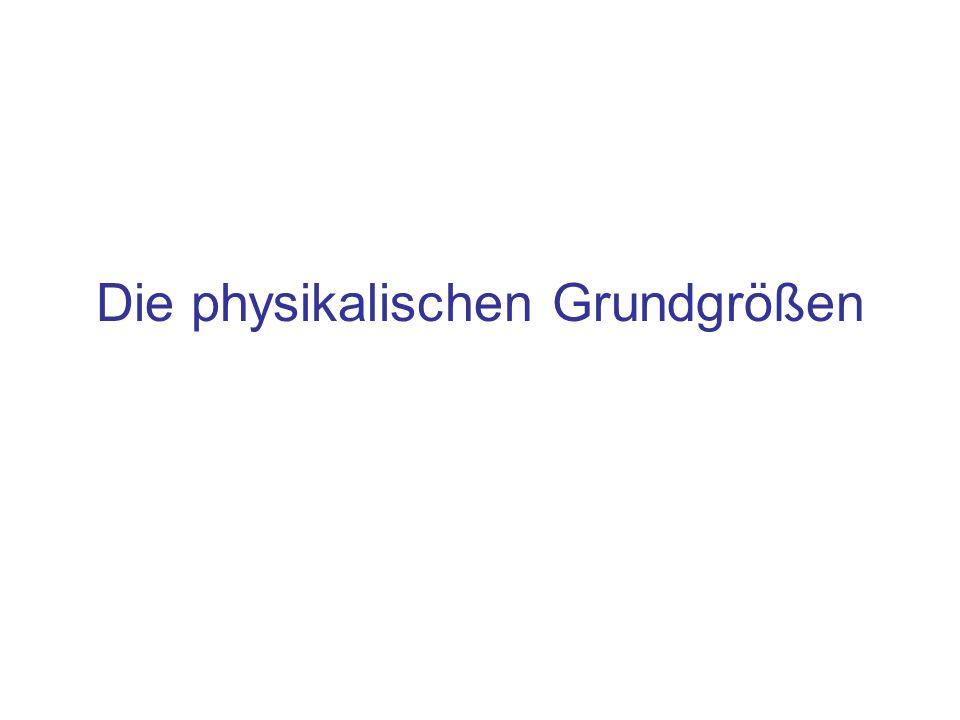 Grundgrößen der Mechanik (Massenpunkte) Größe Si-Einheit ZeichenNameDefinition ZeitsSekunde 1 s ist die Zeit für 9192631770 Schwingungen des Isotops beim Übergang zwischen den beiden Hyperfeinstrukturniveaus des Grundzustandes LängemMeter 1 m ist die Strecke, die das Licht im Vakuum in der Zeit von 1/299792458 s zurücklegt Massekg Kilo- gramm Ur-Kilogramm, verwahrt im Bureau International des Poids et Mesures in Paris Sèvres