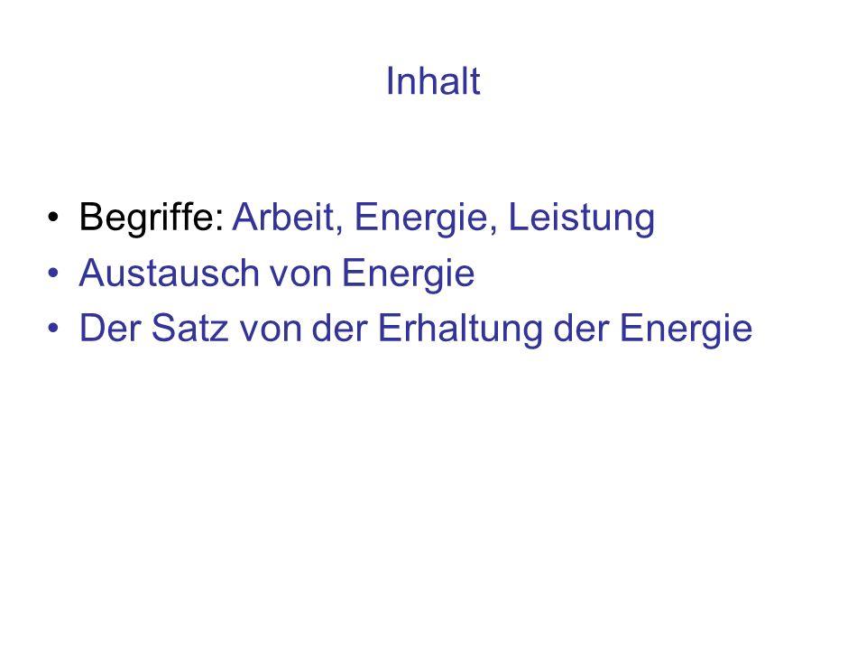 Arbeit verhält sich zu Energie wie Kontobewegung zu Kapital* * Aber Achtung: Kein Kredit, keine Überziehung!