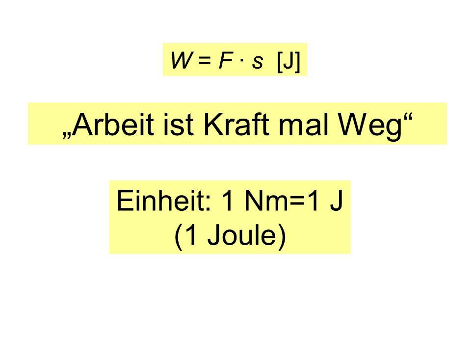 Arbeit ist Kraft mal Weg Einheit: 1 Nm=1 J (1 Joule) W = F · s [J]