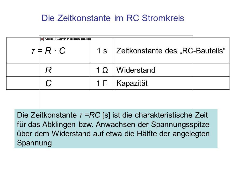 τ = R · C 1 sZeitkonstante des RC-Bauteils R 1 ΩWiderstand C 1 FKapazität Die Zeitkonstante im RC Stromkreis Die Zeitkonstante τ =RC [s] ist die chara