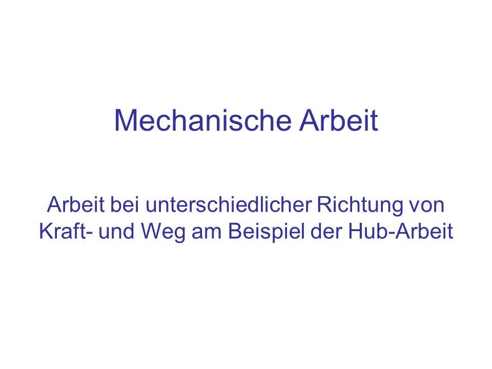 Mechanische Arbeit Arbeit bei unterschiedlicher Richtung von Kraft- und Weg am Beispiel der Hub-Arbeit