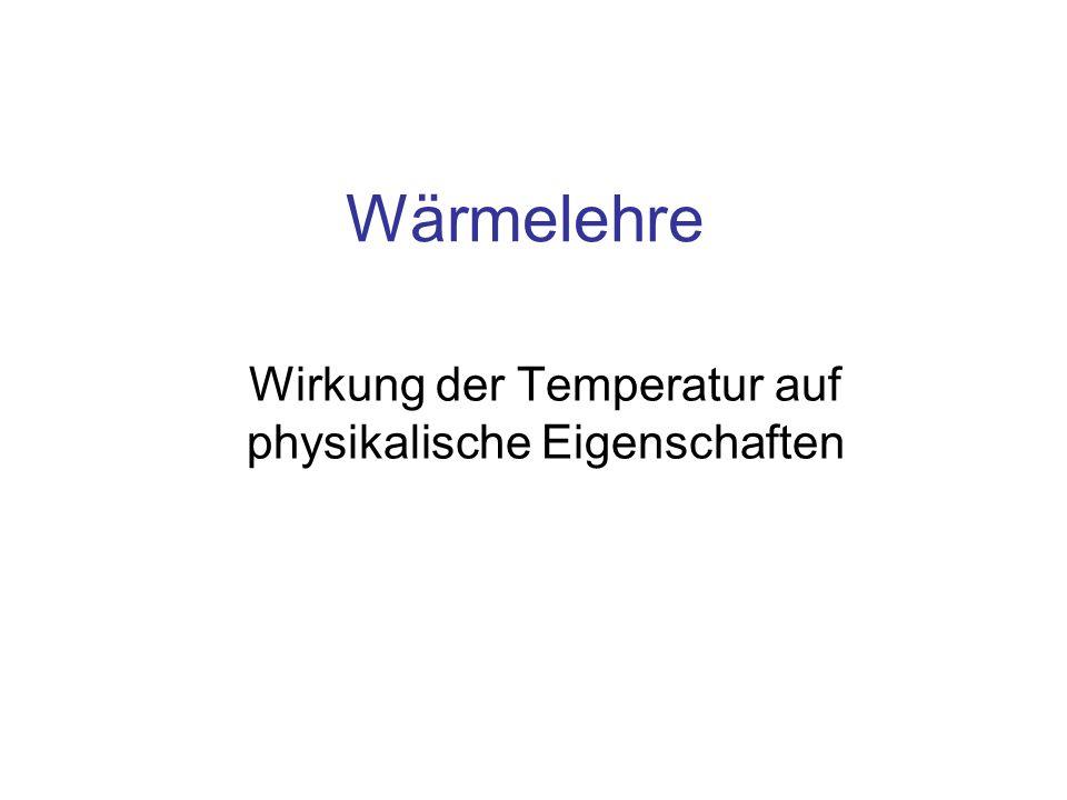 Inhalt Thermische Ausdehnung Temperatur und elektrische Eigenschaften Temperatur und Aggregat-Zustände