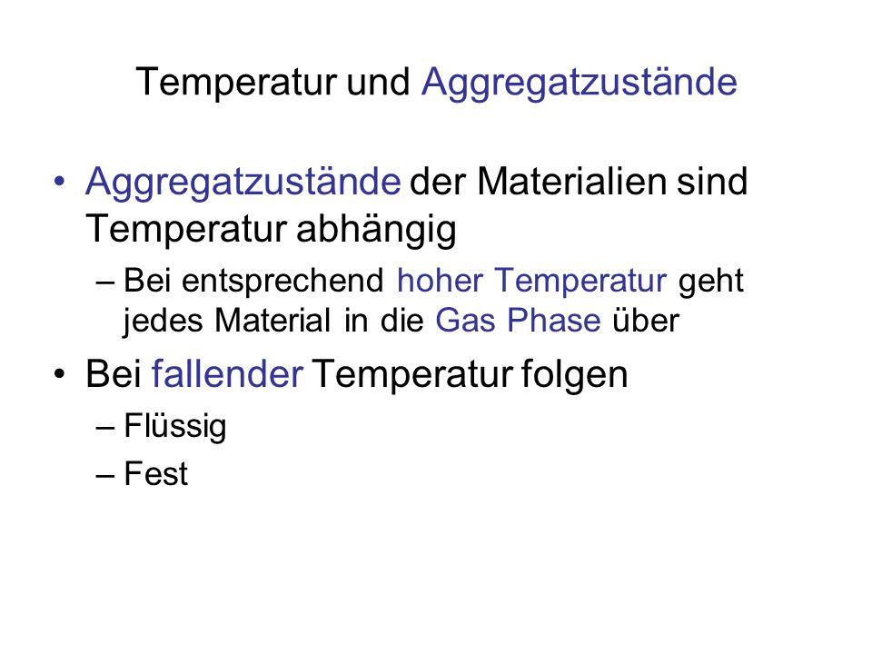 Zusammenfassung Thermische Ausdehnung: Bei Anstieg der Temperatur dehnen sich die meisten Materialien aus, für Festkörper gilt –l (T) = l 0 · (1+ α · (T-T 0 )) [m] Länge bei Temperatur T [K] –α [1/K] Koeffizient der thermischen Ausdehnung, eine Materialkonstante, für Eisen z.