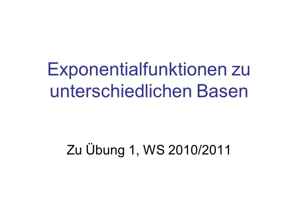 Exponentialfunktionen zu unterschiedlichen Basen Zu Übung 1, WS 2010/2011