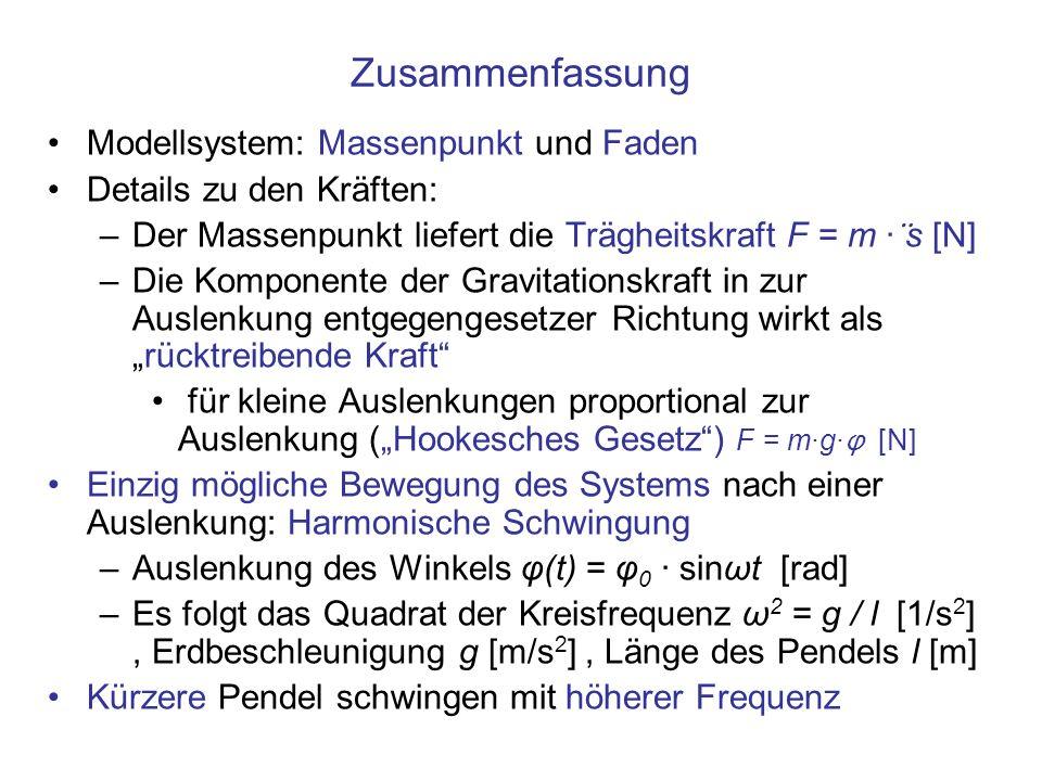 Zusammenfassung Modellsystem: Massenpunkt und Faden Details zu den Kräften: –Der Massenpunkt liefert die Trägheitskraft F = m · ̈ s [N] –Die Komponente der Gravitationskraft in zur Auslenkung entgegengesetzer Richtung wirkt alsrücktreibende Kraft für kleine Auslenkungen proportional zur Auslenkung (Hookesches Gesetz) F = m·g· φ [ N] Einzig mögliche Bewegung des Systems nach einer Auslenkung: Harmonische Schwingung –Auslenkung des Winkels φ(t) = φ 0 · sinωt [rad] –Es folgt das Quadrat der Kreisfrequenz ω 2 = g / l [1/s 2 ], Erdbeschleunigung g [m/s 2 ], Länge des Pendels l [m] Kürzere Pendel schwingen mit höherer Frequenz