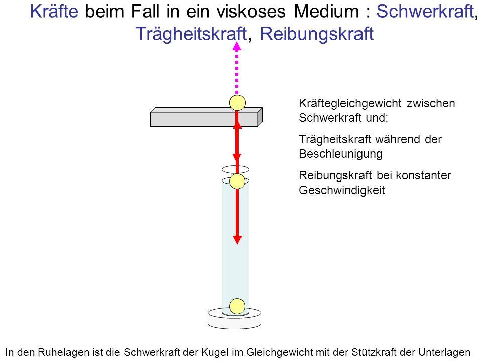 Kräfte beim Fall in ein viskoses Medium : Schwerkraft, Trägheitskraft, Reibungskraft In den Ruhelagen ist die Schwerkraft der Kugel im Gleichgewicht m
