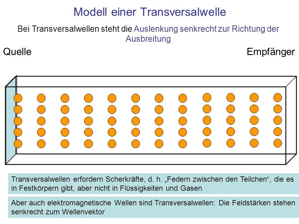 Modell einer Transversalwelle QuelleEmpfänger Transversalwellen erfordern Scherkräfte, d. h. Federn zwischen den Teilchen, die es in Festkörpern gibt,