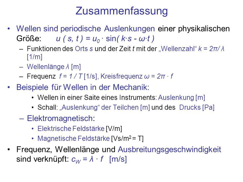 Zusammenfassung Wellen sind periodische Auslenkungen einer physikalischen Größe:u ( s, t ) = u 0 · sin( k·s - ω·t ) –Funktionen des Orts s und der Zei