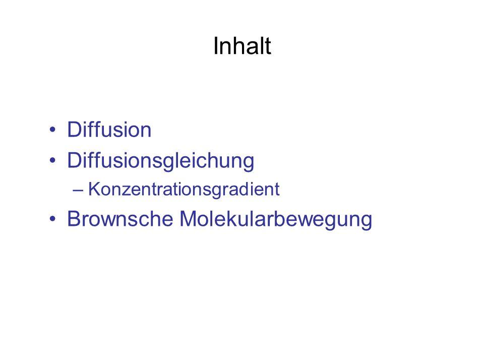 Inhalt Diffusion Diffusionsgleichung –Konzentrationsgradient Brownsche Molekularbewegung