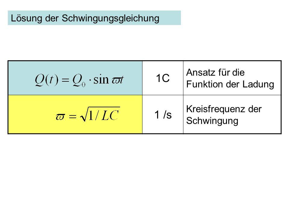 1C Ansatz für die Funktion der Ladung 1 /s Kreisfrequenz der Schwingung Lösung der Schwingungsgleichung