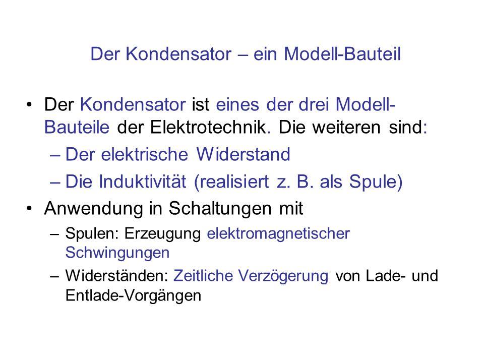 Der Kondensator – ein Modell-Bauteil Der Kondensator ist eines der drei Modell- Bauteile der Elektrotechnik. Die weiteren sind: –Der elektrische Wider