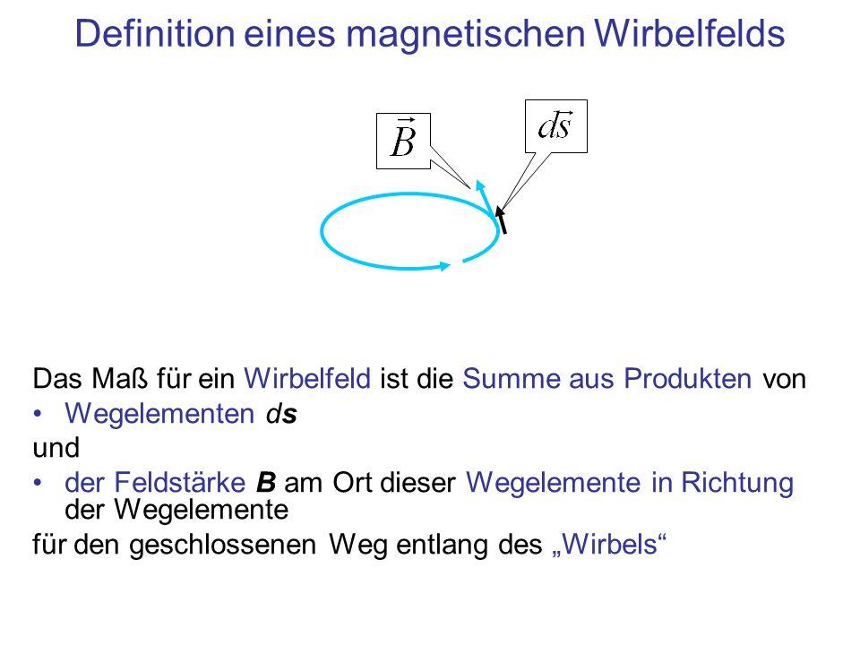 Definition eines magnetischen Wirbelfelds Das Maß für ein Wirbelfeld ist die Summe aus Produkten von Wegelementen ds und der Feldstärke B am Ort dieser Wegelemente in Richtung der Wegelemente für den geschlossenen Weg entlang des Wirbels