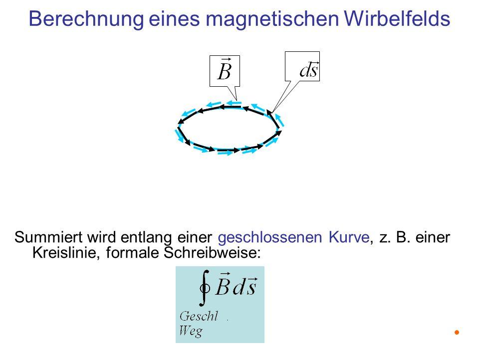 Berechnung eines magnetischen Wirbelfelds Summiert wird entlang einer geschlossenen Kurve, z.