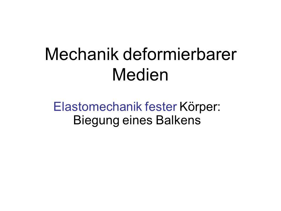 Mechanik deformierbarer Medien Elastomechanik fester Körper: Biegung eines Balkens