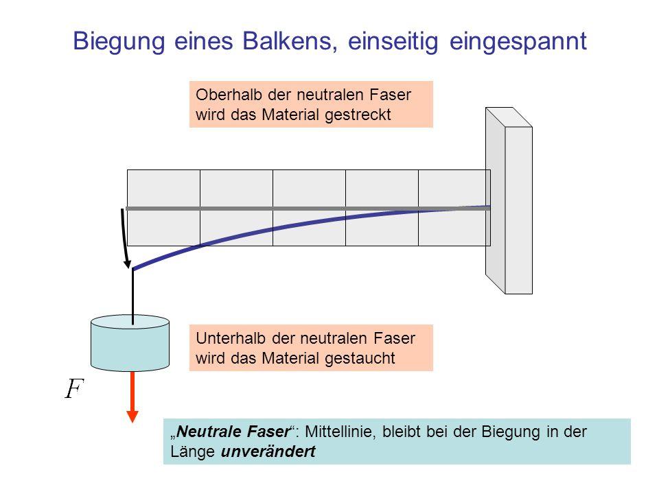 Biegung eines Balkens, einseitig eingespannt Neutrale Faser: Mittellinie, bleibt bei der Biegung in der Länge unverändert Unterhalb der neutralen Fase
