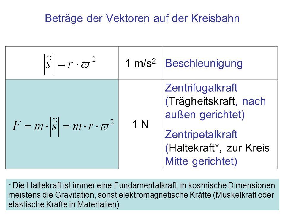 1 m/s 2 Beschleunigung 1 N Zentrifugalkraft (Trägheitskraft, nach außen gerichtet) Zentripetalkraft (Haltekraft*, zur Kreis Mitte gerichtet) Beträge d