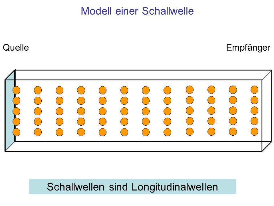 Modell einer Schallwelle QuelleEmpfänger Schallwellen sind Longitudinalwellen