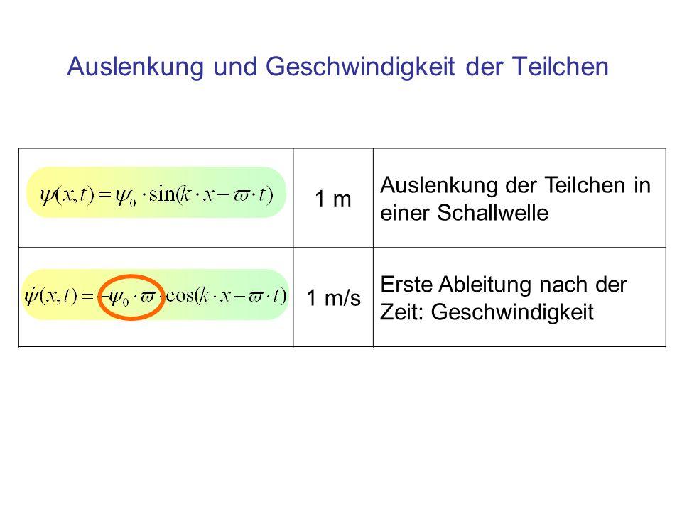 1 m Auslenkung der Teilchen in einer Schallwelle 1 m/s Erste Ableitung nach der Zeit: Geschwindigkeit Auslenkung und Geschwindigkeit der Teilchen