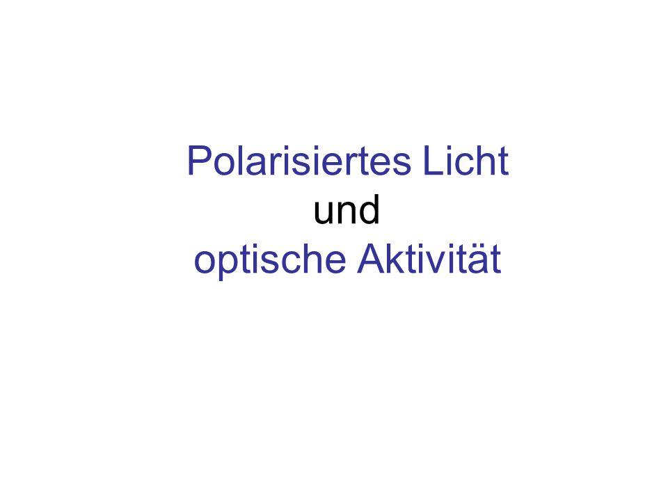 Optische Aktivität: Linksdrehende Lösung Lichtquelle für natürliches Licht Polarisator Stellung des Analysators für maximale Intensität Drehwinkel d