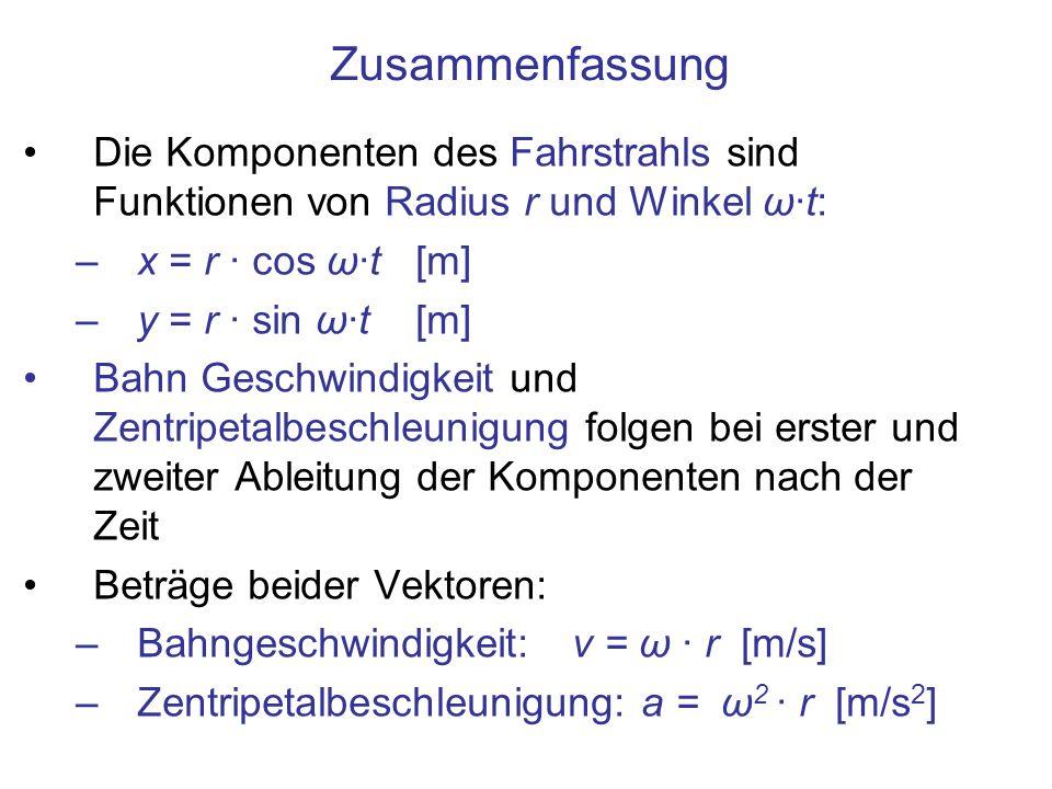 Zusammenfassung Die Komponenten des Fahrstrahls sind Funktionen von Radius r und Winkel ω·t: –x = r · cos ω·t [m] –y = r · sin ω·t [m] Bahn Geschwindi