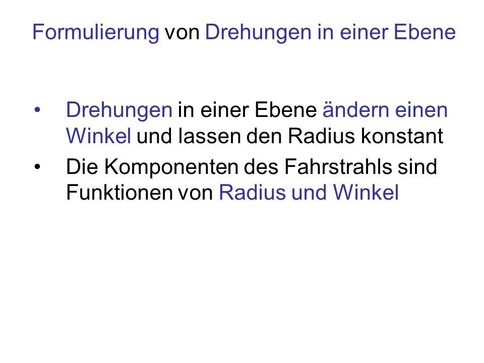 Komponenten des Fahrstrahls Einheit 1 m Komponenten des Vektors 1m Betrag, Radius 1rad Winkel