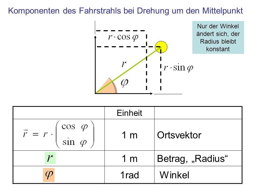 Einheit 1 mOrtsvektor 1 mBetrag, Radius 1rad Winkel Komponenten des Fahrstrahls bei Drehung um den Mittelpunkt Nur der Winkel ändert sich, der Radius