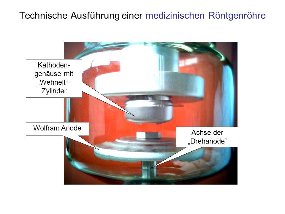Technische Ausführung einer medizinischen Röntgenröhre Wolfram Anode Kathoden- gehäuse mit Wehnelt- Zylinder Achse der Drehanode
