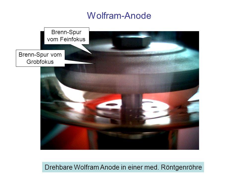 Wolfram-Anode Brenn-Spur vom Grobfokus Brenn-Spur vom Feinfokus Drehbare Wolfram Anode in einer med. Röntgenröhre