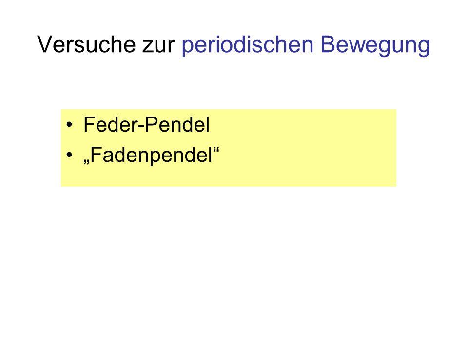 Versuche zur periodischen Bewegung Feder-Pendel Fadenpendel