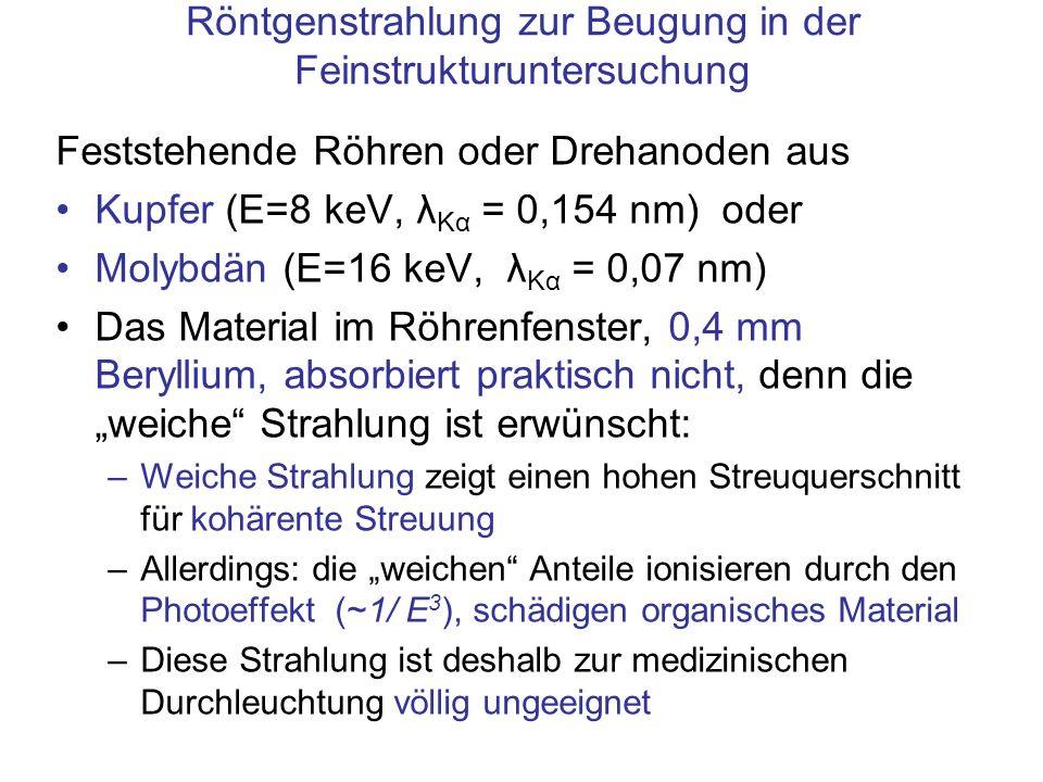 Röntgenstrahlung zur Beugung in der Feinstrukturuntersuchung Feststehende Röhren oder Drehanoden aus Kupfer (E=8 keV, λ Kα = 0,154 nm) oder Molybdän (