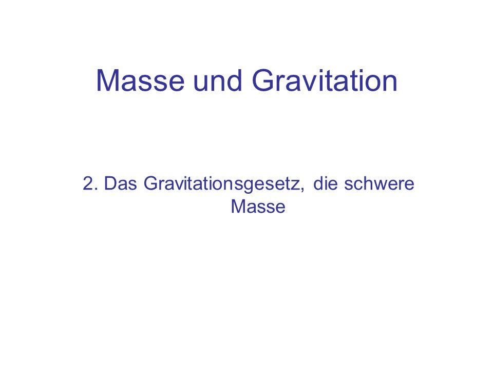 Masse und Gravitation 2. Das Gravitationsgesetz, die schwere Masse