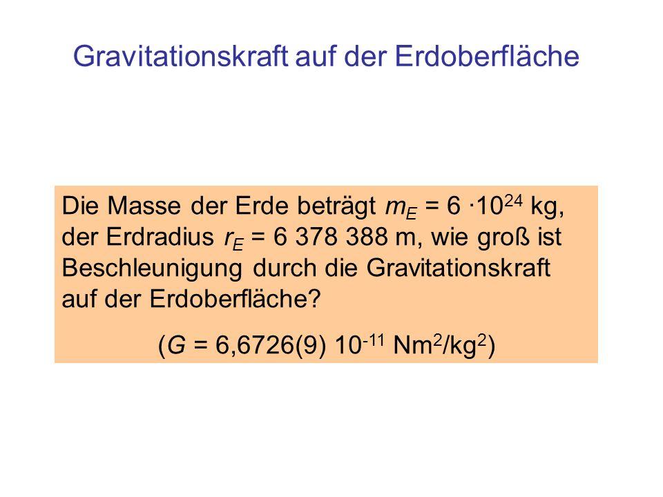 Gravitationskraft auf der Erdoberfläche Die Masse der Erde beträgt m E = 6 ·10 24 kg, der Erdradius r E = 6 378 388 m, wie groß ist Beschleunigung dur