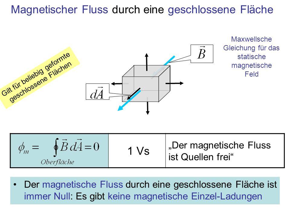 1 Vs Der magnetische Fluss ist Quellen frei Magnetischer Fluss durch eine geschlossene Fläche Gilt für beliebig geformte geschlossene Flächen Der magn