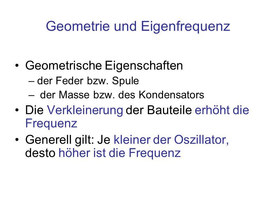 Geometrie und Eigenfrequenz Geometrische Eigenschaften –der Feder bzw. Spule – der Masse bzw. des Kondensators Die Verkleinerung der Bauteile erhöht d