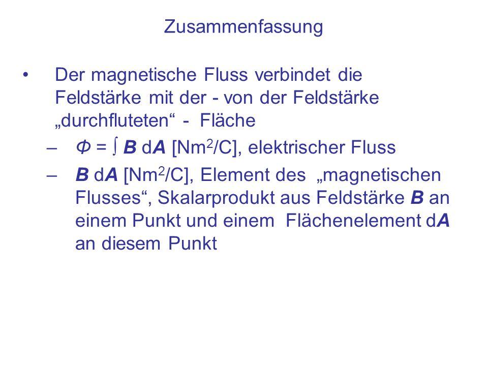 Zusammenfassung Der magnetische Fluss verbindet die Feldstärke mit der - von der Feldstärke durchfluteten - Fläche –Φ = B dA [Nm 2 /C], elektrischer Fluss –B dA [Nm 2 /C], Element des magnetischen Flusses, Skalarprodukt aus Feldstärke B an einem Punkt und einem Flächenelement dA an diesem Punkt