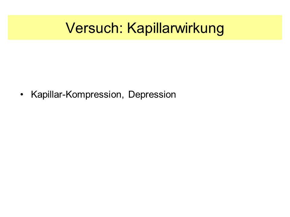 Versuch: Kapillarwirkung Kapillar-Kompression, Depression