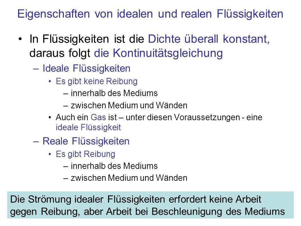 Eigenschaften von idealen und realen Flüssigkeiten In Flüssigkeiten ist die Dichte überall konstant, daraus folgt die Kontinuitätsgleichung –Ideale Fl