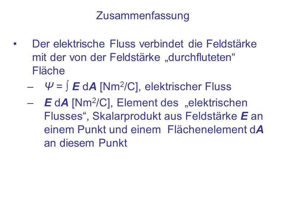 Zusammenfassung Der elektrische Fluss verbindet die Feldstärke mit der von der Feldstärke durchfluteten Fläche –Ψ = E dA [Nm 2 /C], elektrischer Fluss
