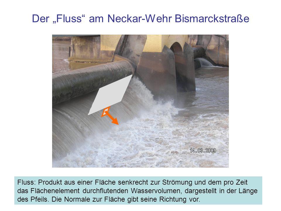 Der Fluss am Neckar-Wehr Bismarckstraße Fluss: Produkt aus einer Fläche senkrecht zur Strömung und dem pro Zeit das Flächenelement durchflutenden Wasservolumen, dargestellt in der Länge des Pfeils.