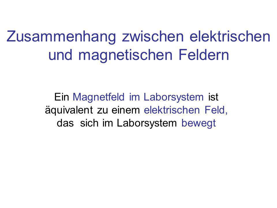 Zusammenhang zwischen elektrischen und magnetischen Feldern Ein Magnetfeld im Laborsystem ist äquivalent zu einem elektrischen Feld, das sich im Laborsystem bewegt