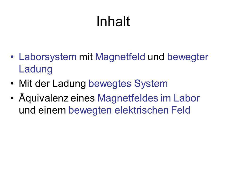 Inhalt Laborsystem mit Magnetfeld und bewegter Ladung Mit der Ladung bewegtes System Äquivalenz eines Magnetfeldes im Labor und einem bewegten elektrischen Feld
