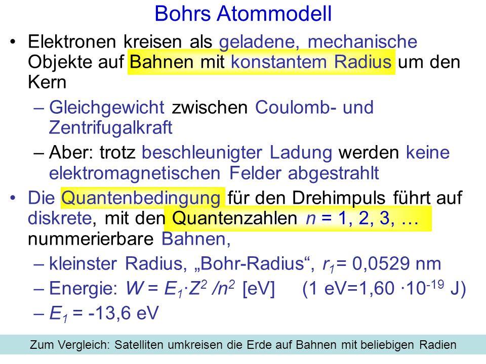 Bohrs Atommodell für Wasserstoff r1r1 r 2 =4r 1 r 3 =9r 1 r 4 =16r 1 E 1 =-13,6 eV E 2 =-3,4 eV E 3 =-1,5 eV E 4 =-0,85 eV Zur Bedeutung der Energie-Werte: Energie von 13,6 eV ist aufzuwenden, um ein Elektron aus der innersten Schale (Quantenzahl n=1) abzulösen, d.h.