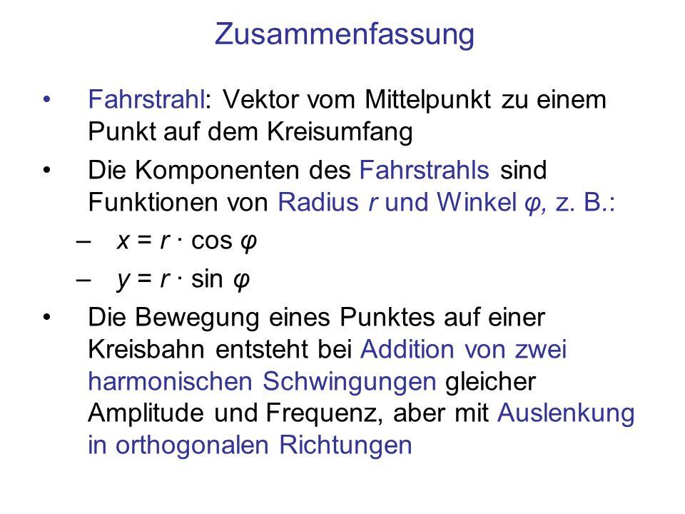 Zusammenfassung Fahrstrahl: Vektor vom Mittelpunkt zu einem Punkt auf dem Kreisumfang Die Komponenten des Fahrstrahls sind Funktionen von Radius r und Winkel φ, z.