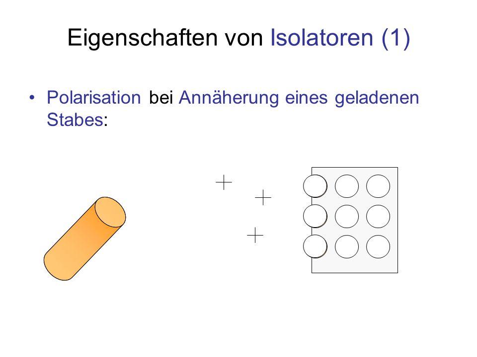 Eigenschaften von Isolatoren (1) Polarisation bei Annäherung eines geladenen Stabes: