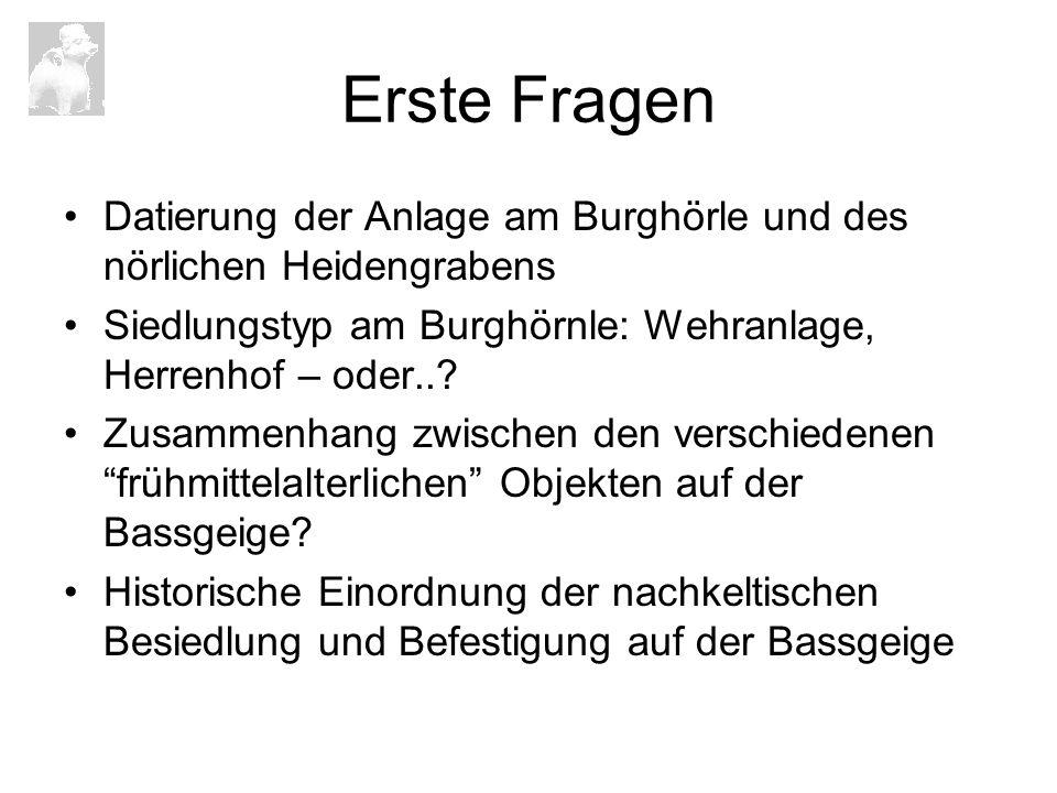 Erste Fragen Datierung der Anlage am Burghörle und des nörlichen Heidengrabens Siedlungstyp am Burghörnle: Wehranlage, Herrenhof – oder..? Zusammenhan