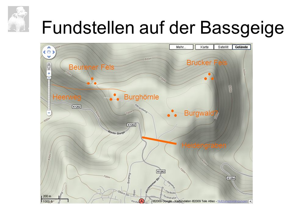 Fundstellen auf der Bassgeige Heidengraben Brucker Fels Burghörnle Beurener Fels Burgwald? Heerweg