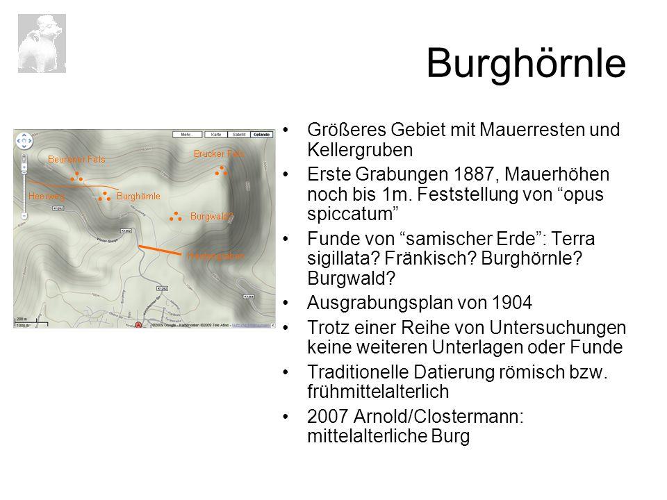 Burghörnle Größeres Gebiet mit Mauerresten und Kellergruben Erste Grabungen 1887, Mauerhöhen noch bis 1m. Feststellung von opus spiccatum Funde von sa