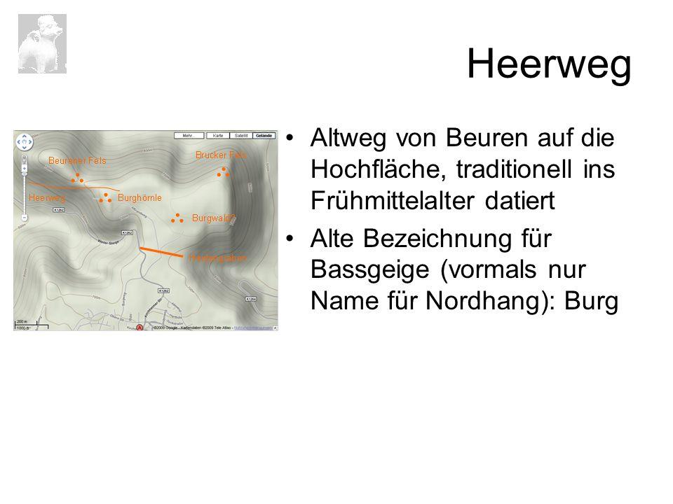 Heerweg Altweg von Beuren auf die Hochfläche, traditionell ins Frühmittelalter datiert Alte Bezeichnung für Bassgeige (vormals nur Name für Nordhang):