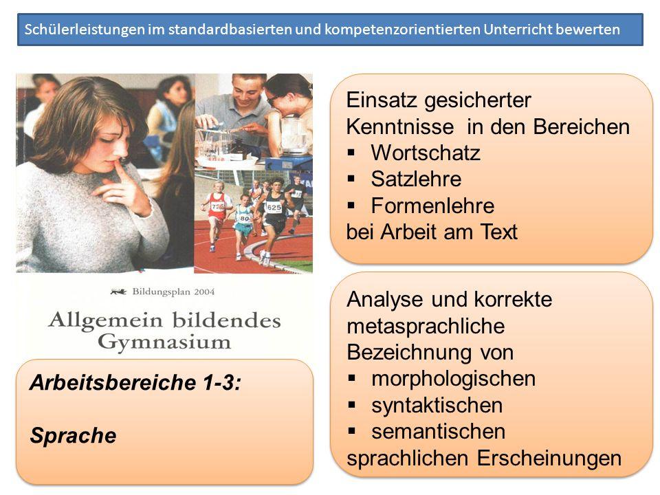 Schülerleistungen im standardbasierten und kompetenzorientierten Unterricht bewerten Einsatz gesicherter Kenntnisse in den Bereichen Wortschatz Satzle