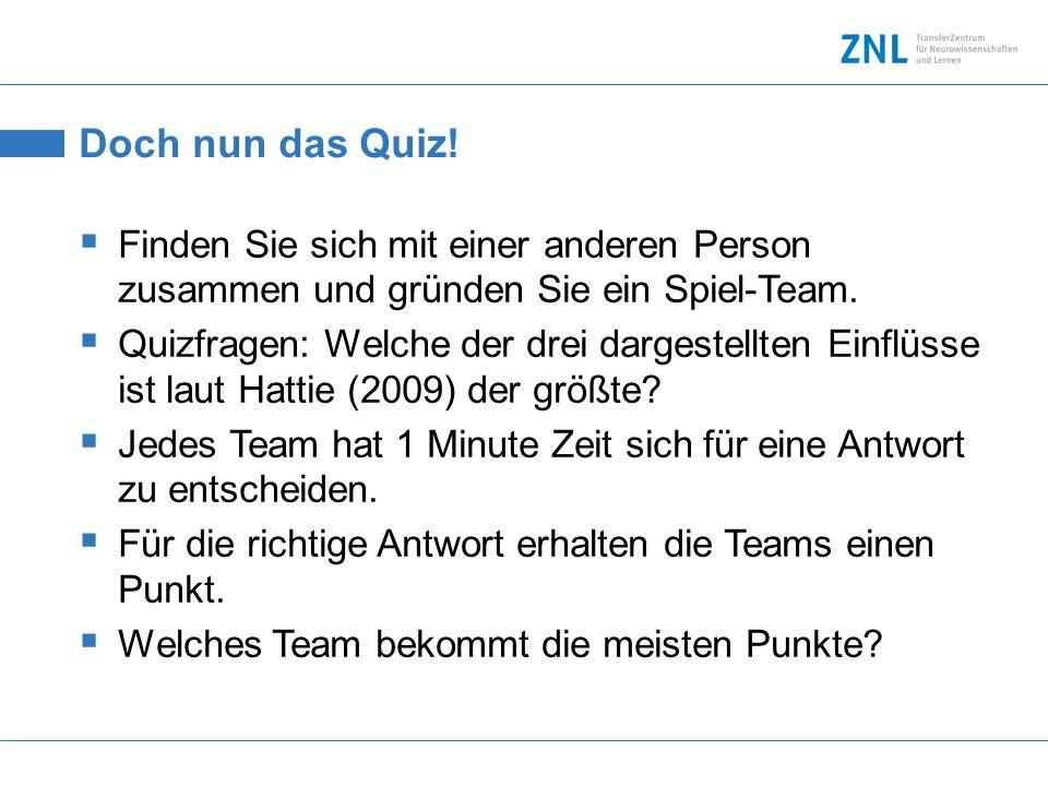 Doch nun das Quiz! Finden Sie sich mit einer anderen Person zusammen und gründen Sie ein Spiel-Team. Quizfragen: Welche der drei dargestellten Einflüs